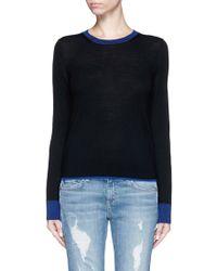 Rag & Bone | 'kendra' Contrast Trim Merino Wool Sweater | Lyst