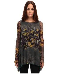 Jean Paul Gaultier Floral Tulle Long Sleeve A-line Top - Lyst