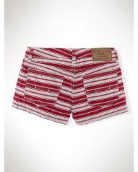 Ralph Lauren Striped Jean Short - Lyst