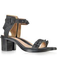 Rachel Zoe - Colbie Black Snake Print Leather Sandal Wstuds - Lyst