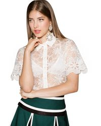 Pixie Market Iggy White Lace Shirt - Lyst