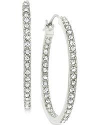 T Tahari Silver-Tone Crystal Pavé Hoop Earrings - Lyst