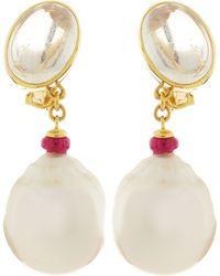 Assael - 18k Moonstone Ruby Bead White Pearl Earrings - Lyst