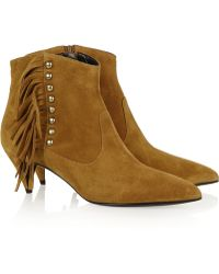 Saint Laurent Fringed Studded Suede Ankle Boots - Lyst
