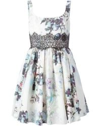 Notte by Marchesa Lace Insert Floral Dress - Lyst