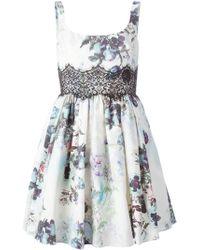 Notte by Marchesa Lace Insert Floral Dress beige - Lyst