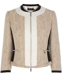 Karen Millen Neutral Tweed Jacket - Lyst