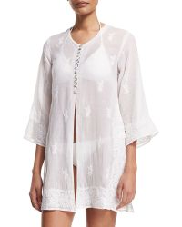 Florabella - Kuta Button-front Embroidered Tunic Coverup - Lyst