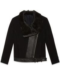 Helmut Lang Inclusion Fur Collar Jacket - Lyst