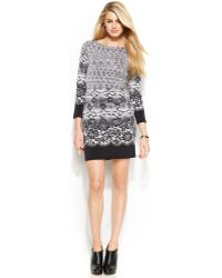 Michael Kors Michael Three-quarter-sleeve Printed Shift - Lyst