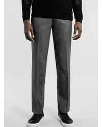 Topman Light Grey Straight Trousers - Lyst