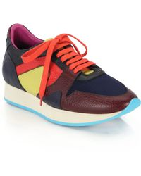 Burberry Prorsum Field Colorblock Leather Sneakers multicolor - Lyst