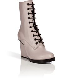 Jil Sander Leather Laceup Boots - Lyst