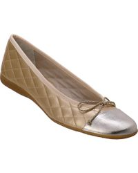 French Sole Passport Ballet Flat Gold Leather - Lyst