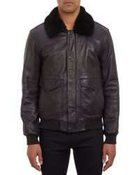 Marc By Marc Jacobs Leather Aviator Bomber with Shearling Collar - Lyst