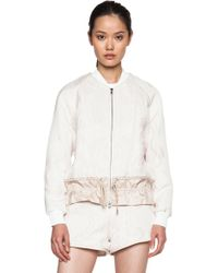 3.1 Phillip Lim Cloque Bomber With Drawstring Hem - Lyst