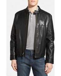 Cole Haan Leather Moto Jacket - Lyst