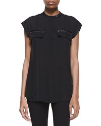 Halston Heritage Silk Buttonfront Top - Lyst