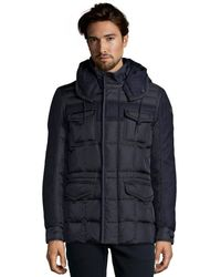 Moncler Navy Quilted Wool Insert Jacob Hooded Down Jacket - Lyst