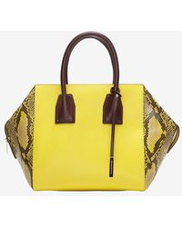 Stella McCartney Boston Faux Snake Satchel Canary - Lyst