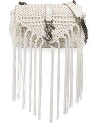 Saint Laurent   Monogramme Baby Leather-trimmed Tasseled Crochet Shoulder Bag   Lyst
