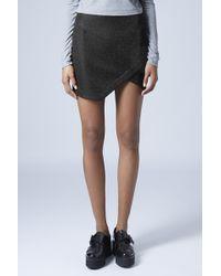 Topshop Petite Tinsel Wrap Mini Skirt - Lyst
