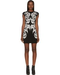 Alexander McQueen Black and White Swallow Jacquard Dress - Lyst