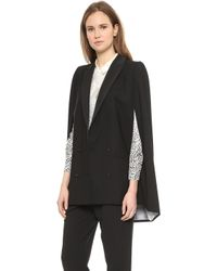 Band Of Outsiders Peak Lapel Cape Black - Lyst