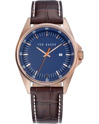 Ted Baker Mens Rose Gold Tone and Leather Watch with Blue Dial - Lyst