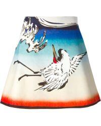 Carven Crane Bird Print Skirt - Lyst