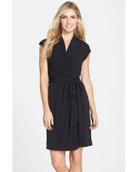 Eliza J Cap Sleeve Faux Wrap Jersey Dress - Lyst