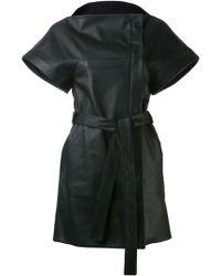 Gareth Pugh Black Belted Coat - Lyst