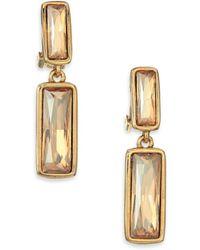 Oscar de la Renta | Rectangular Crystal Clip-on Drop Earrings | Lyst