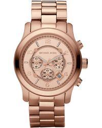 Michael Kors Runway Oversized Rose Gold-Tone Watch - Lyst