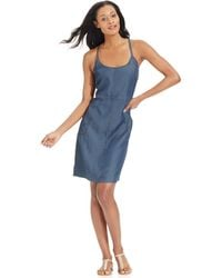 Calvin Klein Jeans Denim Spaghetti-Strap Dress blue - Lyst