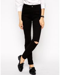 Asos Skinny Twill Pant with Ripped Knees - Lyst