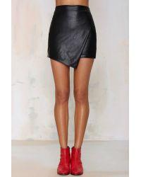 Nasty gal Hard Rock Asymmetrical Vegan Leather Skirt in Black | Lyst
