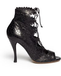 Tabitha Simmons Bonai Perforated Leather Laceup Boots - Lyst