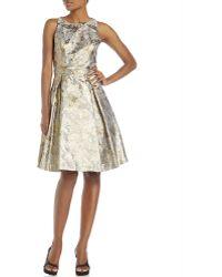 Eliza J Metallic Jacquard Fit & Flare Dress - Lyst