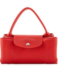 Longchamp Le Pliage Cuir Handbag with Strap Vermillion - Lyst