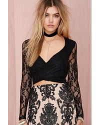 Nasty Gal Tiger Mist Dream Escape Lace Crop Top - Lyst