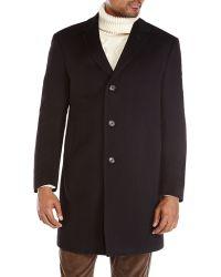 Tommy Hilfiger Black Cashmere Overcoat - Lyst