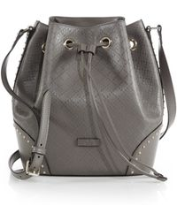Gucci Bright Diamante Leather Bucket Bag beige - Lyst