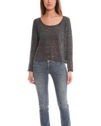 Enza Costa Cropped Long Sleeve Scoop Shirt black - Lyst
