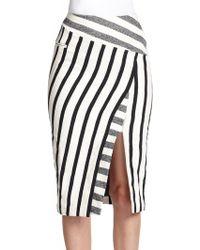 Altuzarra Arcadia Mixed-Stripe Skirt black - Lyst
