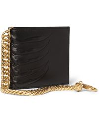 Alexander McQueen Embossed Leather Billfold Wallet with Gold Chain - Lyst