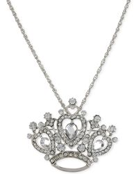 Betsey Johnson Silver-tone Removable Crystal Tiara Pin Pendant Necklace - Lyst