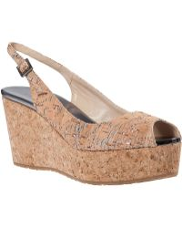 Jimmy Choo Praise Wedge Sandal Metallic Natural Cork - Lyst