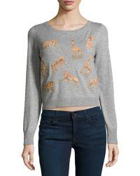 Diane von Furstenberg Praia Cropped Animal-applique Sweater - Lyst