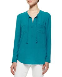 Rebecca Taylor Sofia Tie-Neck Top blue - Lyst